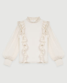 Maje_Blouse_Creme_Volants_Face